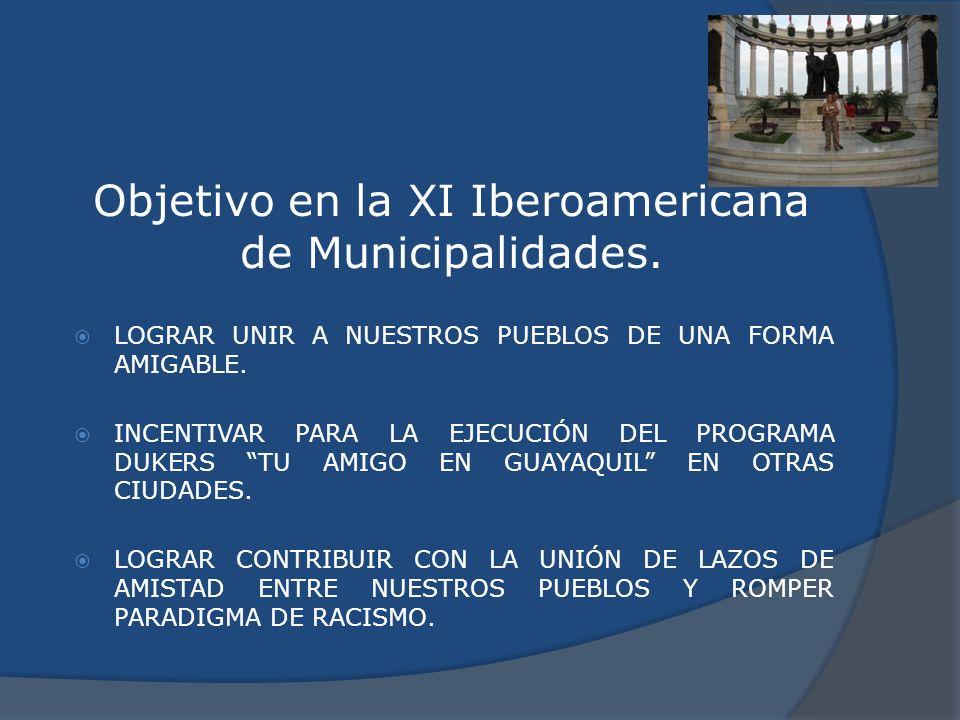Objetivo en la XI Iberoamericana de Municipalidades. LOGRAR UNIR A NUESTROS PUEBLOS DE UNA FORMA AMIGABLE. INCENTIVAR PARA LA EJECUCIÓN DEL PROGRAMA D