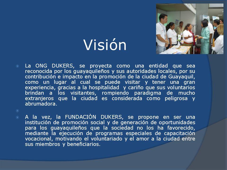 Visión La ONG DUKERS, se proyecta como una entidad que sea reconocida por los guayaquileños y sus autoridades locales, por su contribución e impacto e