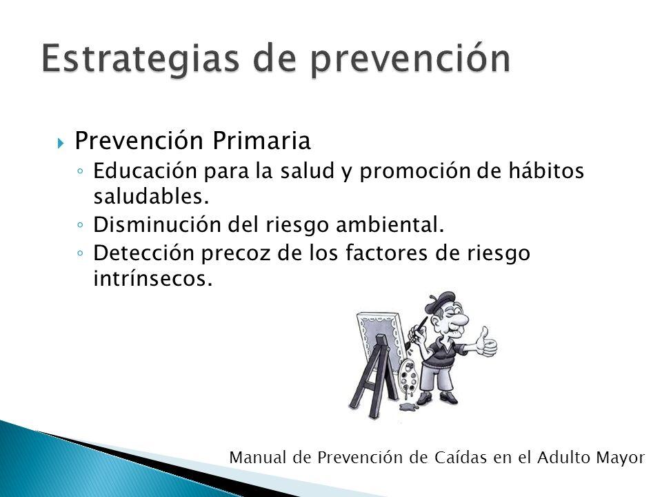 Prevención Primaria Educación para la salud y promoción de hábitos saludables. Disminución del riesgo ambiental. Detección precoz de los factores de r