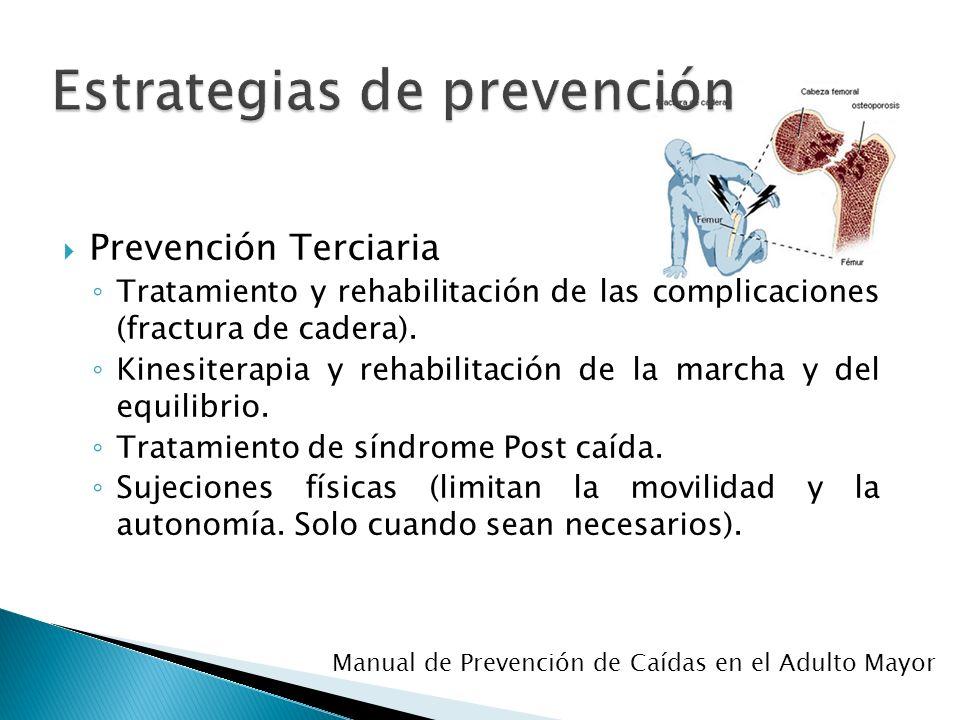 Prevención Terciaria Tratamiento y rehabilitación de las complicaciones (fractura de cadera). Kinesiterapia y rehabilitación de la marcha y del equili