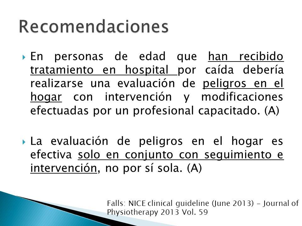 En personas de edad que han recibido tratamiento en hospital por caída debería realizarse una evaluación de peligros en el hogar con intervención y mo