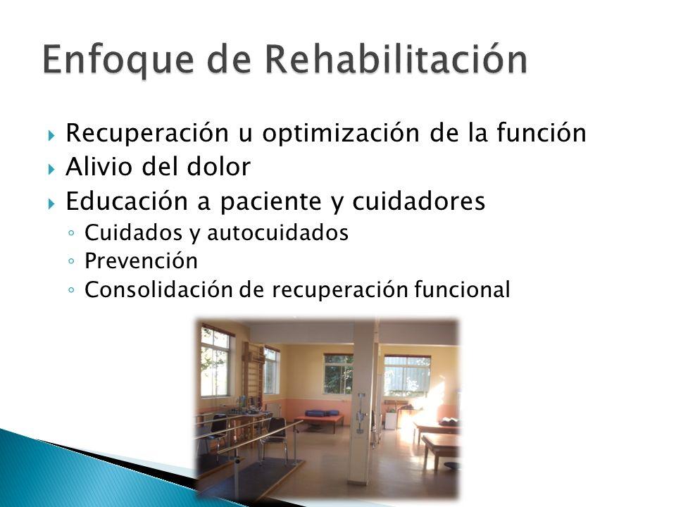 Recuperación u optimización de la función Alivio del dolor Educación a paciente y cuidadores Cuidados y autocuidados Prevención Consolidación de recup