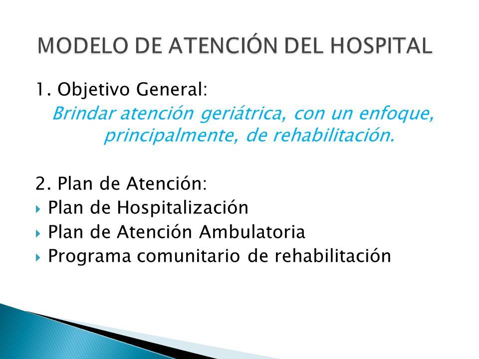 1. Objetivo General: Brindar atención geriátrica, con un enfoque, principalmente, de rehabilitación. 2. Plan de Atención: Plan de Hospitalización Plan