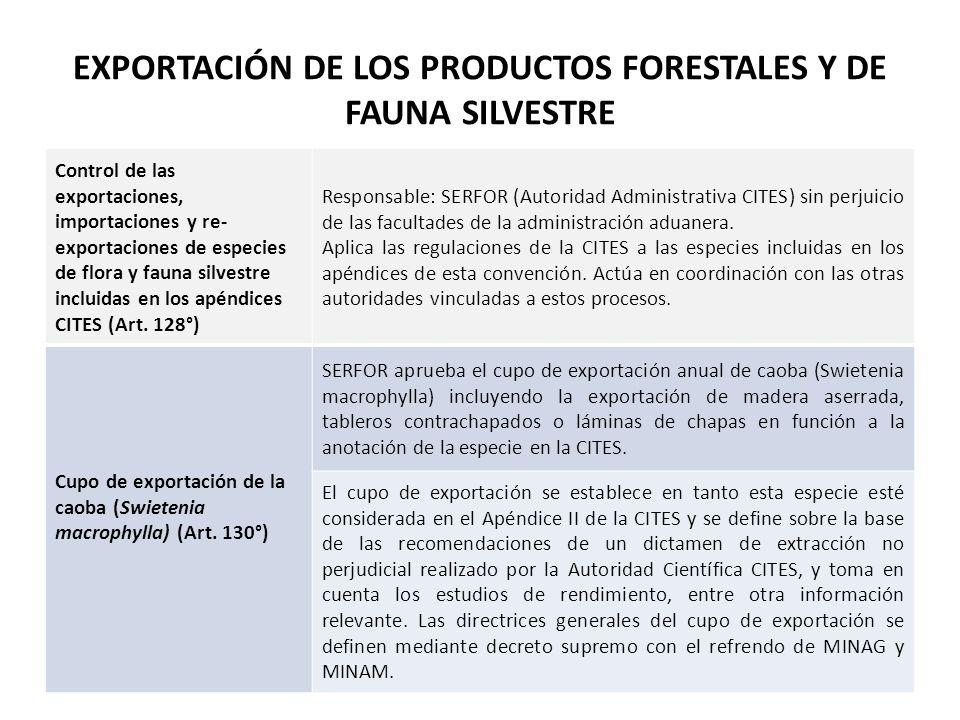 EXPORTACIÓN DE LOS PRODUCTOS FORESTALES Y DE FAUNA SILVESTRE Control de las exportaciones, importaciones y re- exportaciones de especies de flora y fa