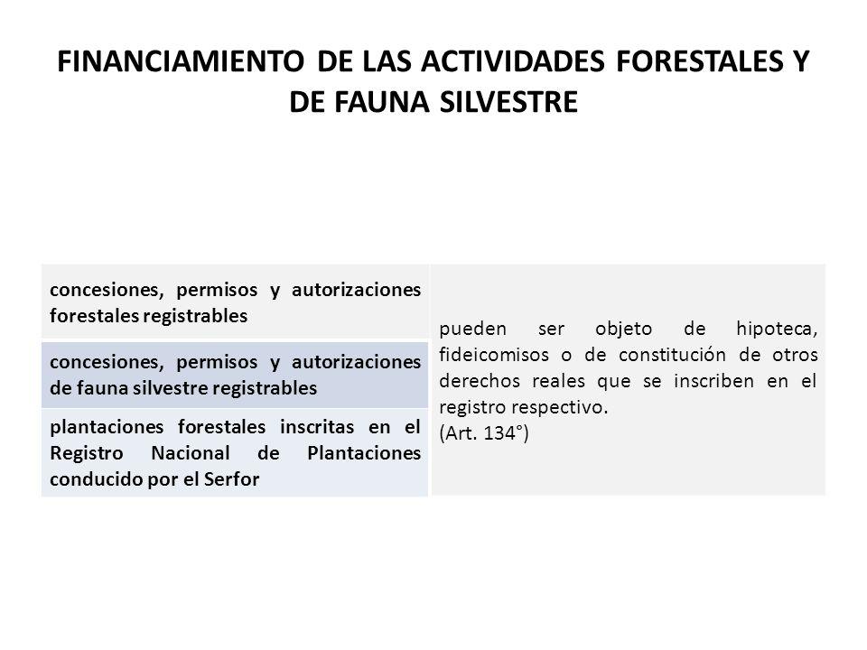 FINANCIAMIENTO DE LAS ACTIVIDADES FORESTALES Y DE FAUNA SILVESTRE concesiones, permisos y autorizaciones forestales registrables pueden ser objeto de