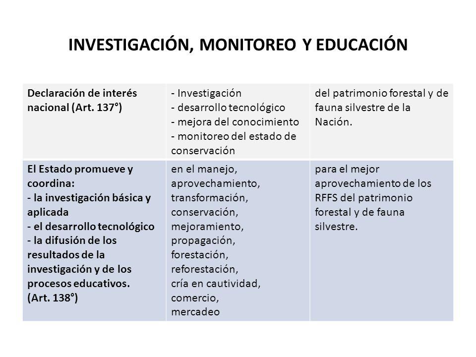 INVESTIGACIÓN, MONITOREO Y EDUCACIÓN Declaración de interés nacional (Art. 137°) - Investigación - desarrollo tecnológico - mejora del conocimiento -