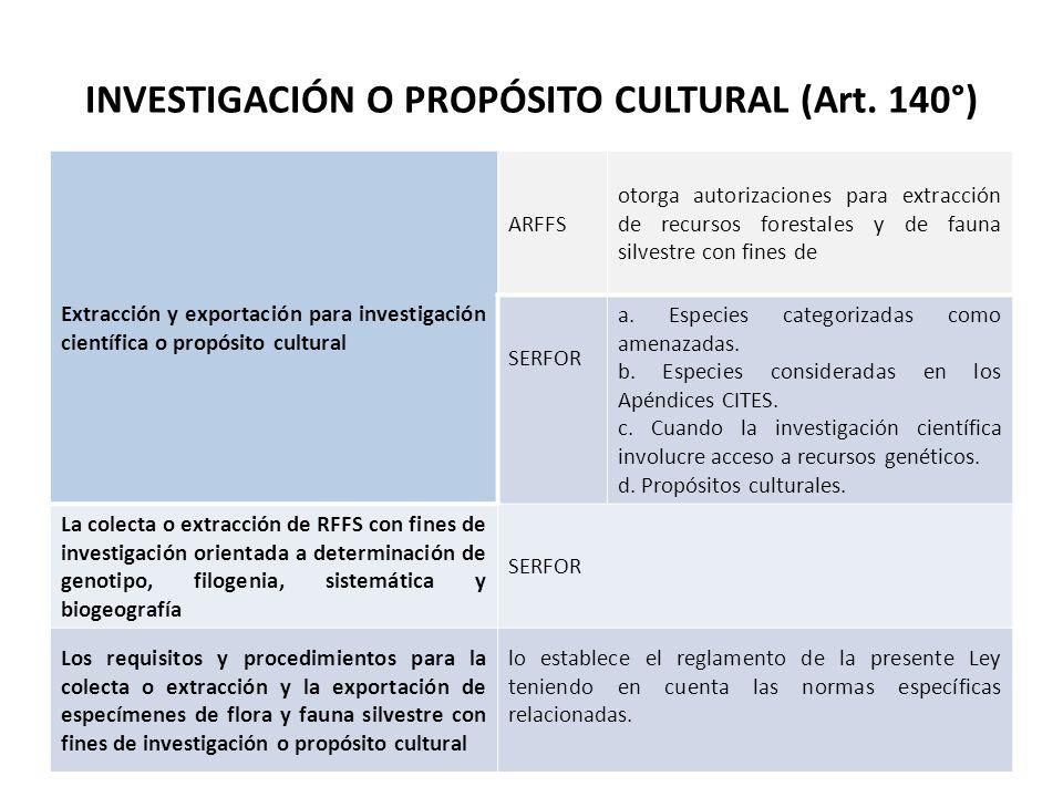 INVESTIGACIÓN O PROPÓSITO CULTURAL (Art. 140°) Extracción y exportación para investigación científica o propósito cultural ARFFS otorga autorizaciones