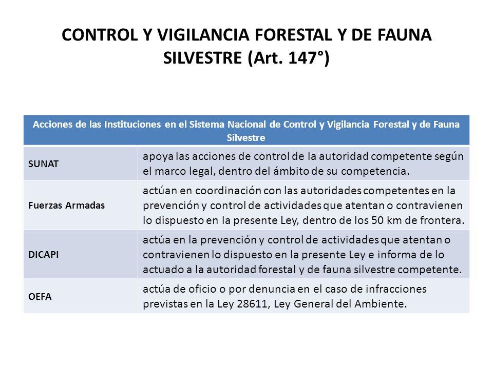 CONTROL Y VIGILANCIA FORESTAL Y DE FAUNA SILVESTRE (Art. 147°) Acciones de las Instituciones en el Sistema Nacional de Control y Vigilancia Forestal y