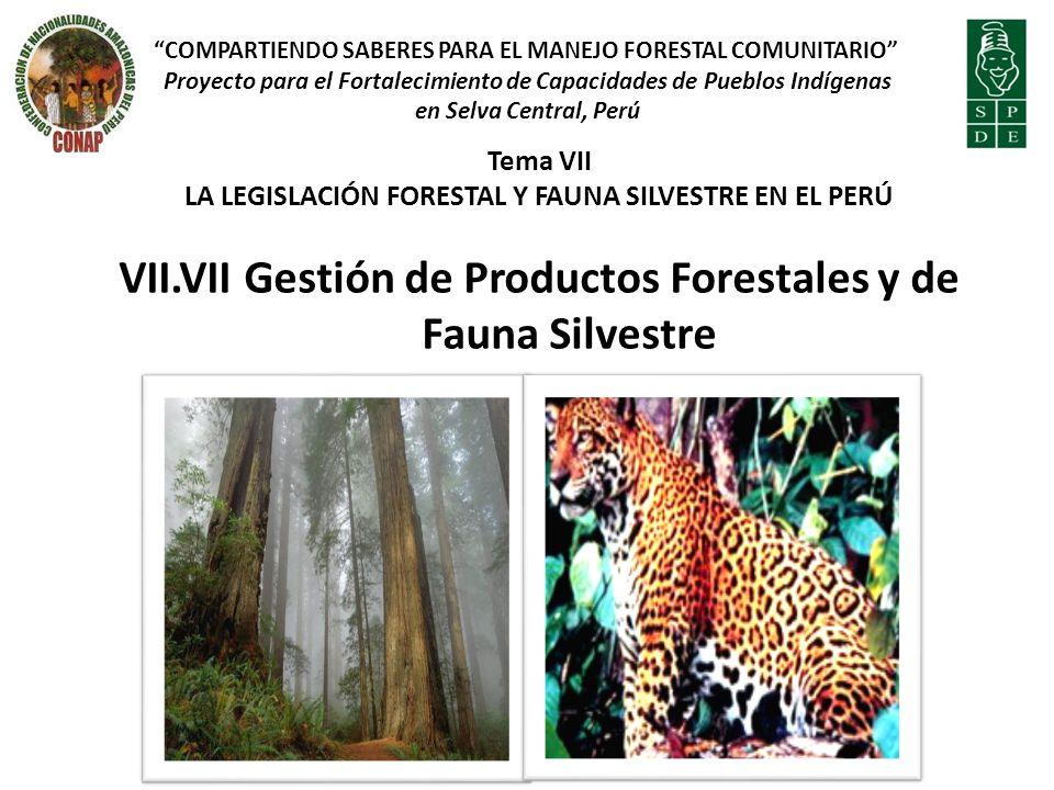 Tema VII LA LEGISLACIÓN FORESTAL Y FAUNA SILVESTRE EN EL PERÚ VII.VII Gestión de Productos Forestales y de Fauna Silvestre COMPARTIENDO SABERES PARA E