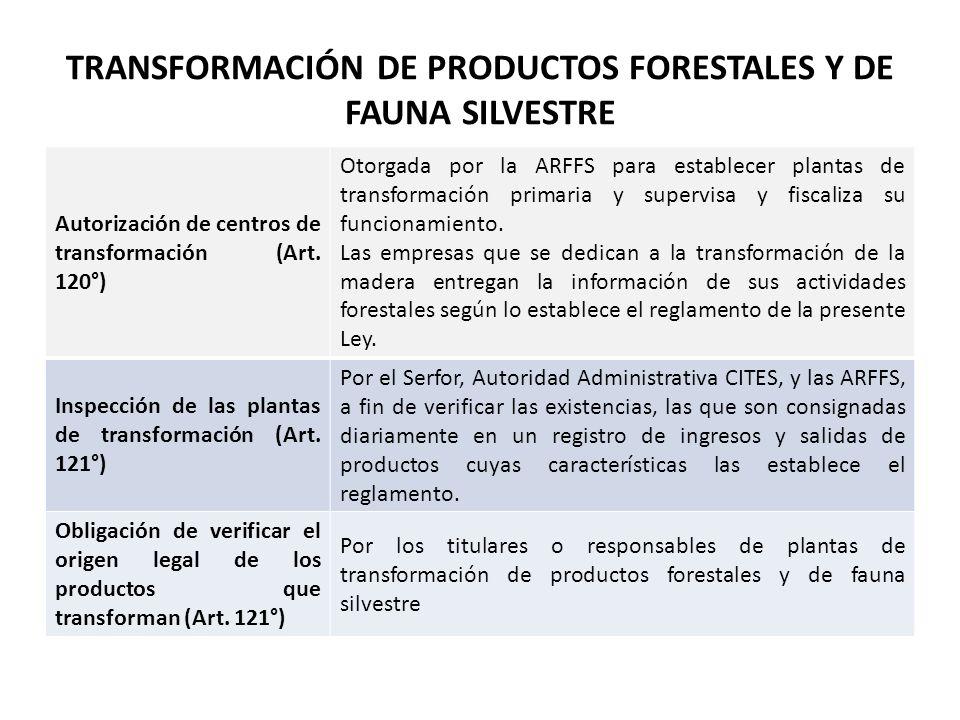 TRANSFORMACIÓN DE PRODUCTOS FORESTALES Y DE FAUNA SILVESTRE Autorización de centros de transformación (Art. 120°) Otorgada por la ARFFS para establece