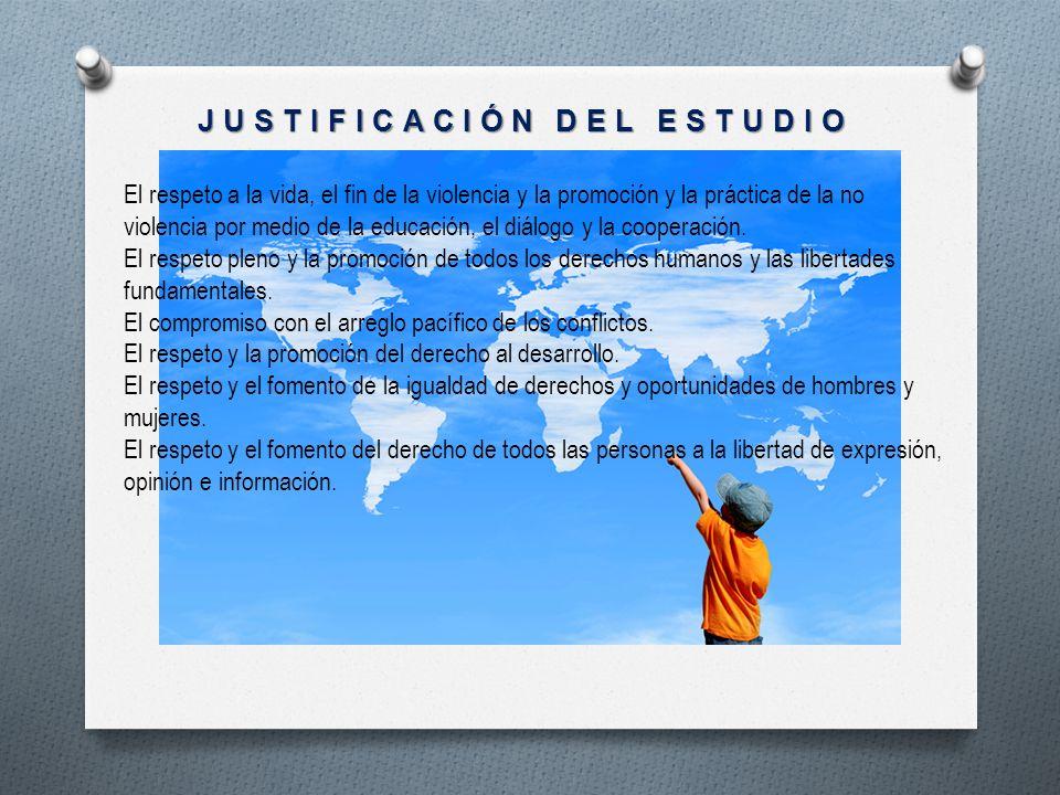 JUSTIFICACIÓN DEL ESTUDIO El respeto a la vida, el fin de la violencia y la promoción y la práctica de la no violencia por medio de la educación, el d