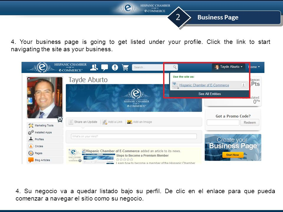 Business Page 2 4. Your business page is going to get listed under your profile.