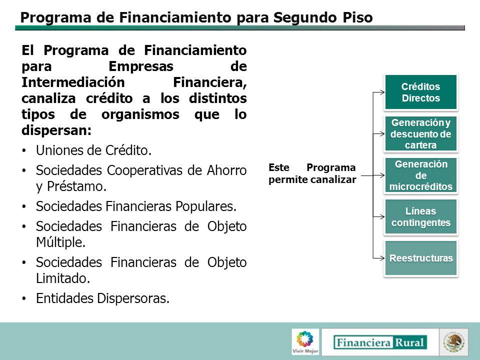 Programa de Financiamiento para Segundo Piso El Programa de Financiamiento para Empresas de Intermediación Financiera, canaliza crédito a los distintos tipos de organismos que lo dispersan: Uniones de Crédito.