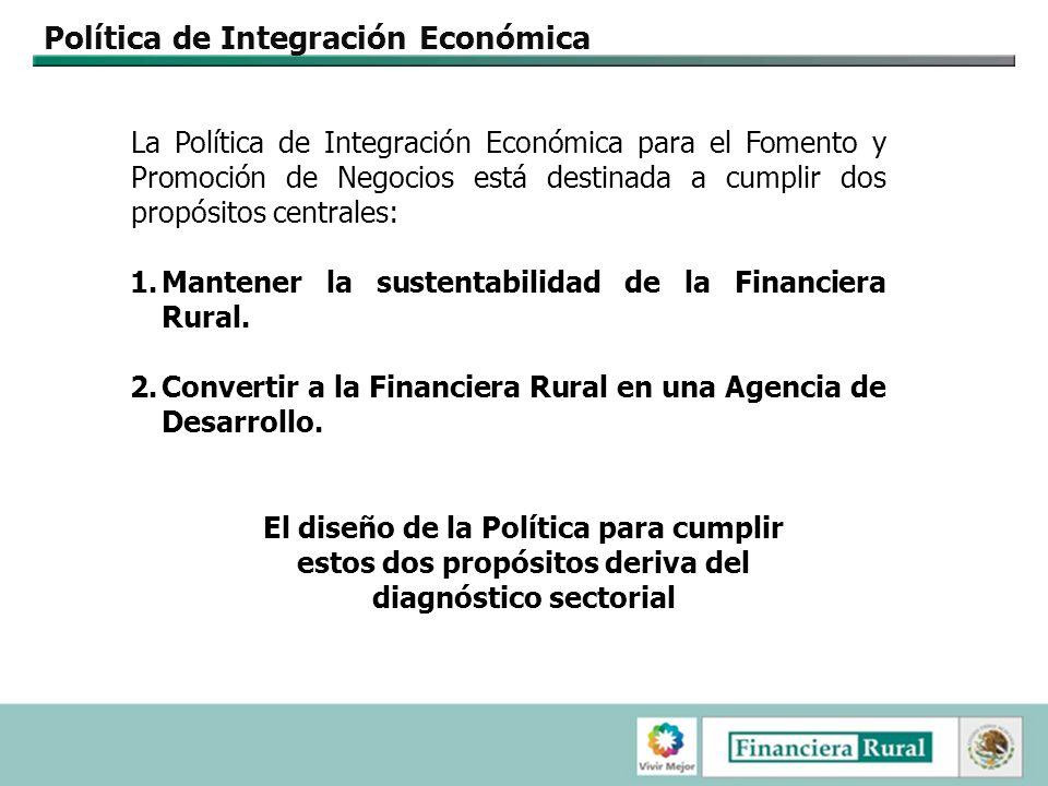 Política de Integración Económica La Política de Integración Económica para el Fomento y Promoción de Negocios está destinada a cumplir dos propósitos centrales: 1.Mantener la sustentabilidad de la Financiera Rural.