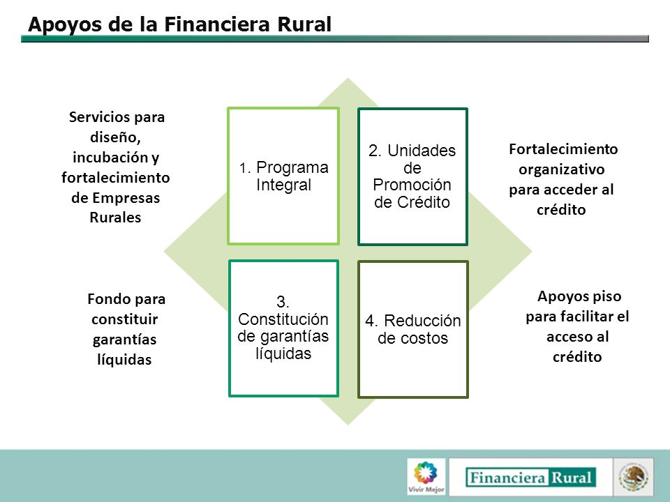 Apoyos de la Financiera Rural 1.Programa Integral 2.