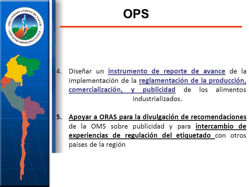 4.Diseñar un instrumento de reporte de avance de la implementación de la reglamentación de la producción, comercialización, y publicidad de los alimen