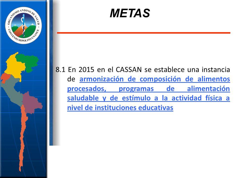 8.1 En 2015 en el CASSAN se establece una instancia de armonización de composición de alimentos procesados, programas de alimentación saludable y de e