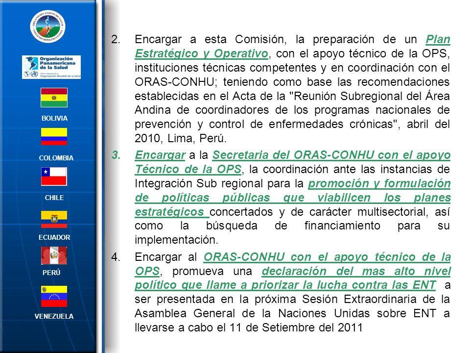 4.Encargar a la Comisión Técnica de ENT el desarrollo e implementación de un sistema de vigilancia de enfermedades crónicas no trasmisibles y sus determinantes, en el marco de la Estrategia Regional y Plan de Acción con Enfoque Integrado sobre la Prevención y Control de las Enfermedades Crónicas de OPS/OMS y en concordancia con el Plan Quinquenal 2011-2015 de UNASUR Salud BOLIVIA ECUADOR CHILE VENEZUELA PERÚ COLOMBIA Resolución REMSAA XXXII/465 Santiago de Chile, 01 de abril de 2011: Eventos en Salud Publica priorizados en la RAVE