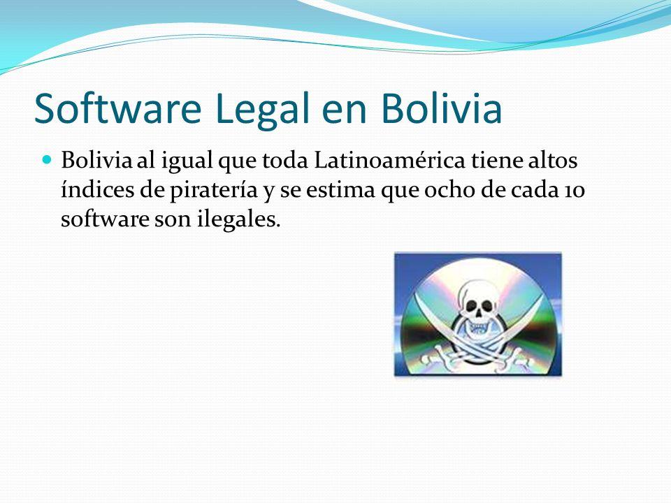 Software Legal en Bolivia Bolivia al igual que toda Latinoamérica tiene altos índices de piratería y se estima que ocho de cada 10 software son ilegal