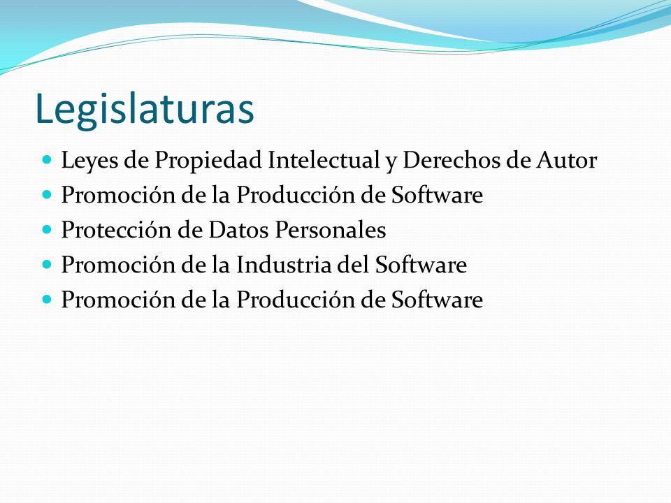Legislaturas Leyes de Propiedad Intelectual y Derechos de Autor Promoción de la Producción de Software Protección de Datos Personales Promoción de la