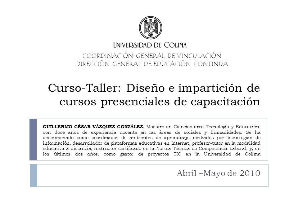 Información general del curso-taller Universidad de Colima.