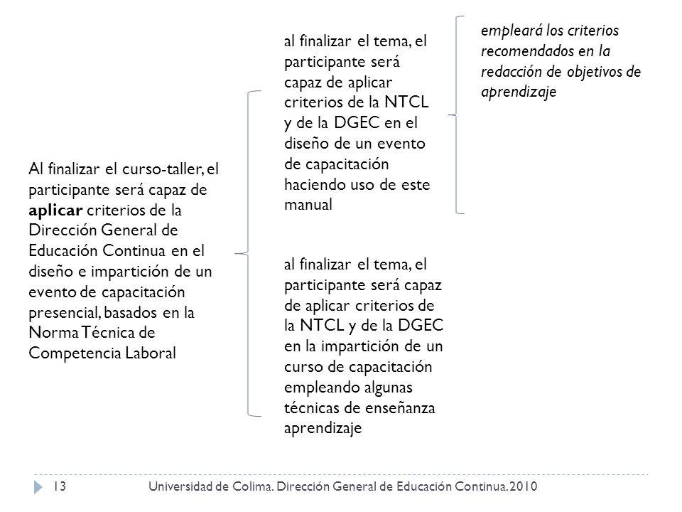 Universidad de Colima. Dirección General de Educación Continua. 201013 Al finalizar el curso-taller, el participante será capaz de aplicar criterios d