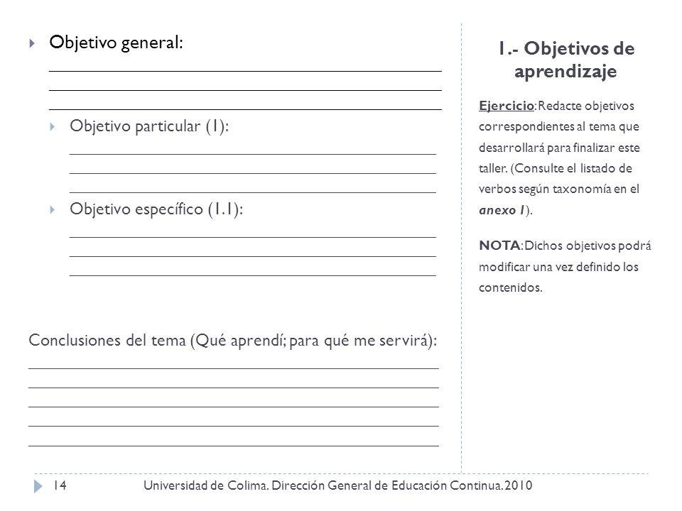 1.- Objetivos de aprendizaje Ejercicio: Redacte objetivos correspondientes al tema que desarrollará para finalizar este taller. (Consulte el listado d