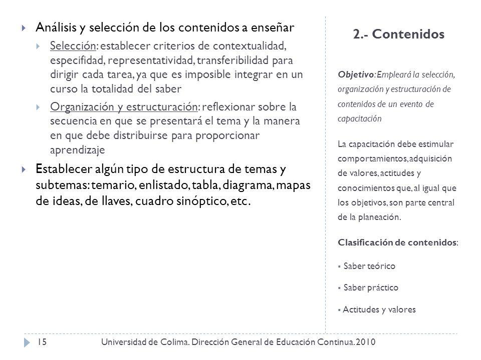 2.- Contenidos Objetivo: Empleará la selección, organización y estructuración de contenidos de un evento de capacitación La capacitación debe estimula