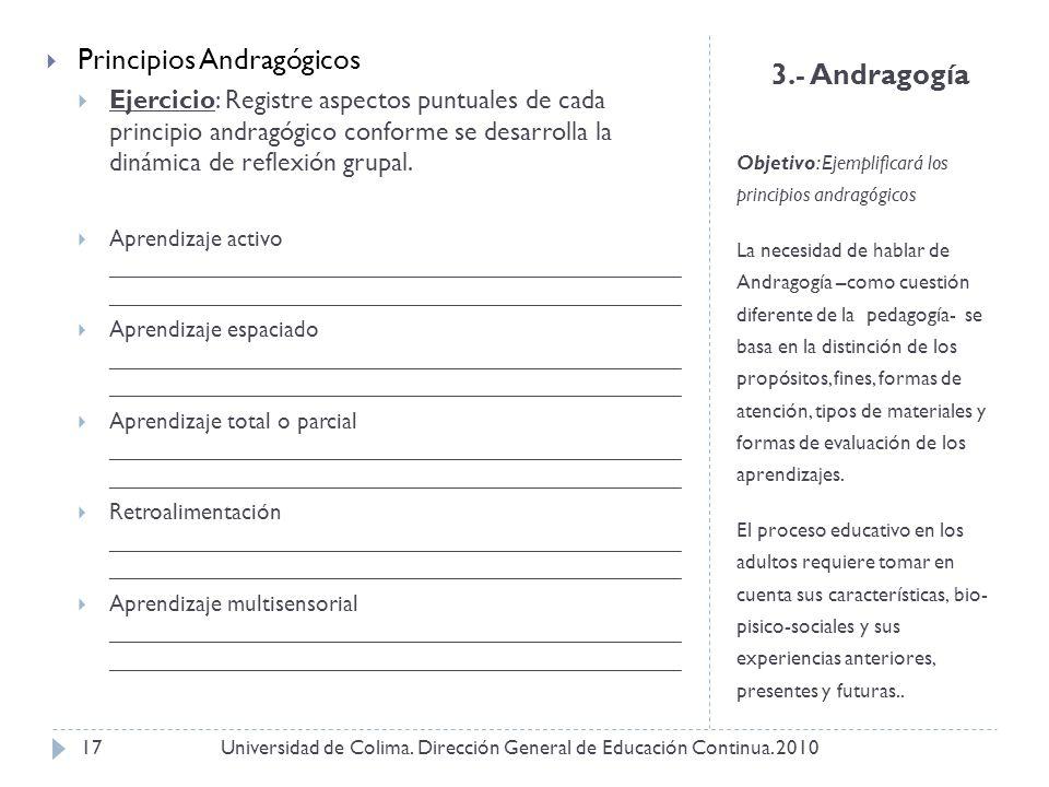 3.- Andragogía Objetivo: Ejemplificará los principios andragógicos La necesidad de hablar de Andragogía –como cuestión diferente de la pedagogía- se b