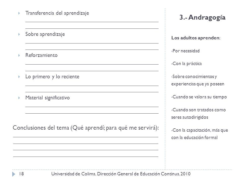 3.- Andragogía Los adultos aprenden: Por necesidad Con la práctica Sobre conocimientos y experiencias que ya poseen Cuando se valora su tiempo Cuando
