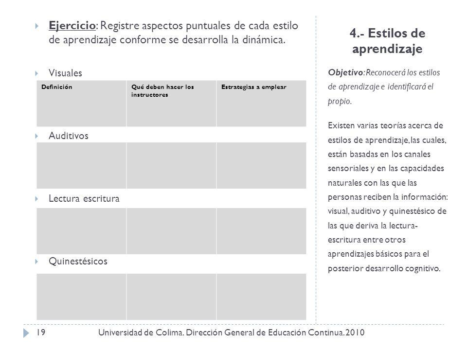 4.- Estilos de aprendizaje Objetivo: Reconocerá los estilos de aprendizaje e identificará el propio. Existen varias teorías acerca de estilos de apren