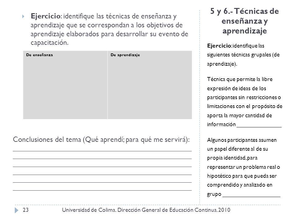 5 y 6.- Técnicas de enseñanza y aprendizaje Ejercicio: identifique las siguientes técnicas grupales (de aprendizaje). Técnica que permite la libre exp