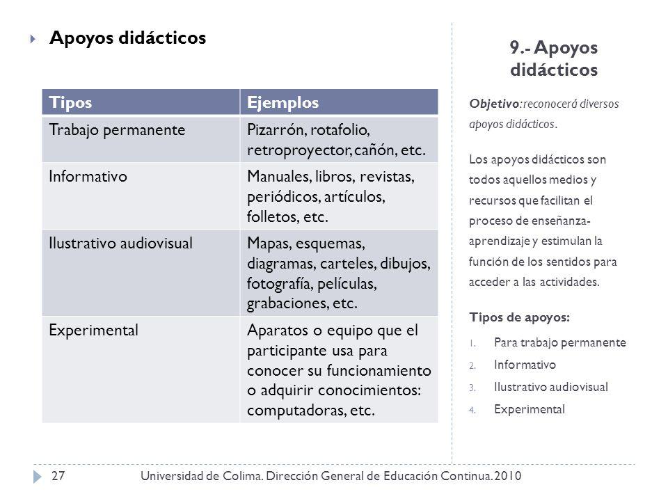 9.- Apoyos didácticos Objetivo: reconocerá diversos apoyos didácticos. Los apoyos didácticos son todos aquellos medios y recursos que facilitan el pro