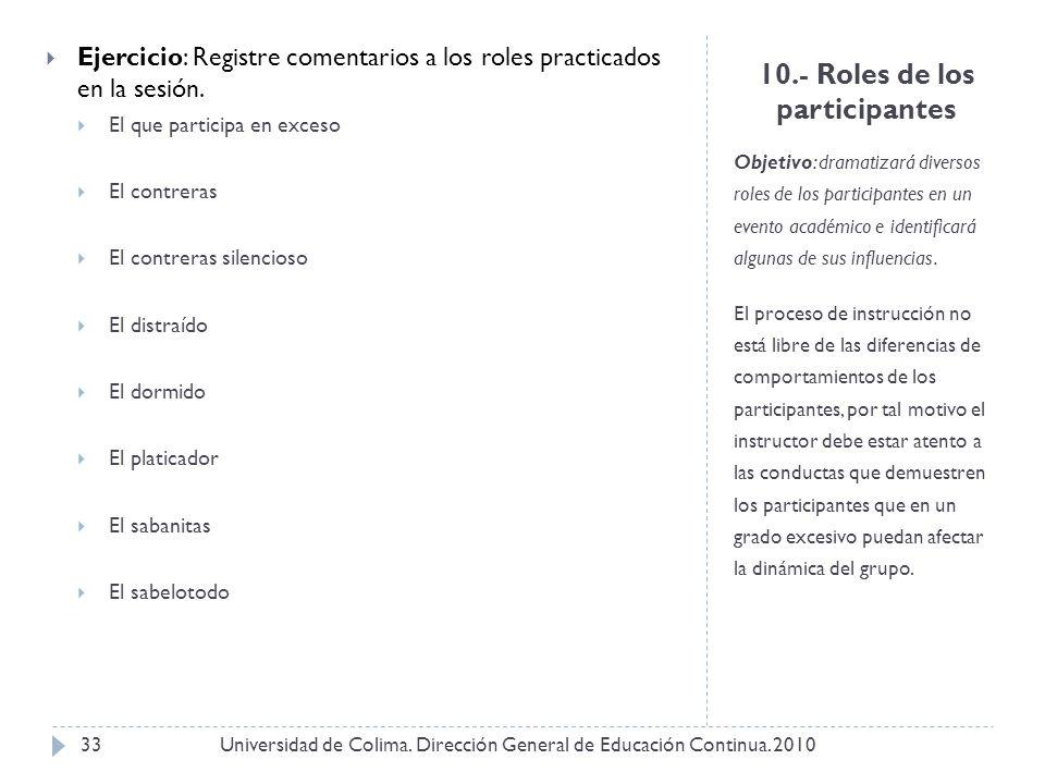 10.- Roles de los participantes Objetivo: dramatizará diversos roles de los participantes en un evento académico e identificará algunas de sus influen