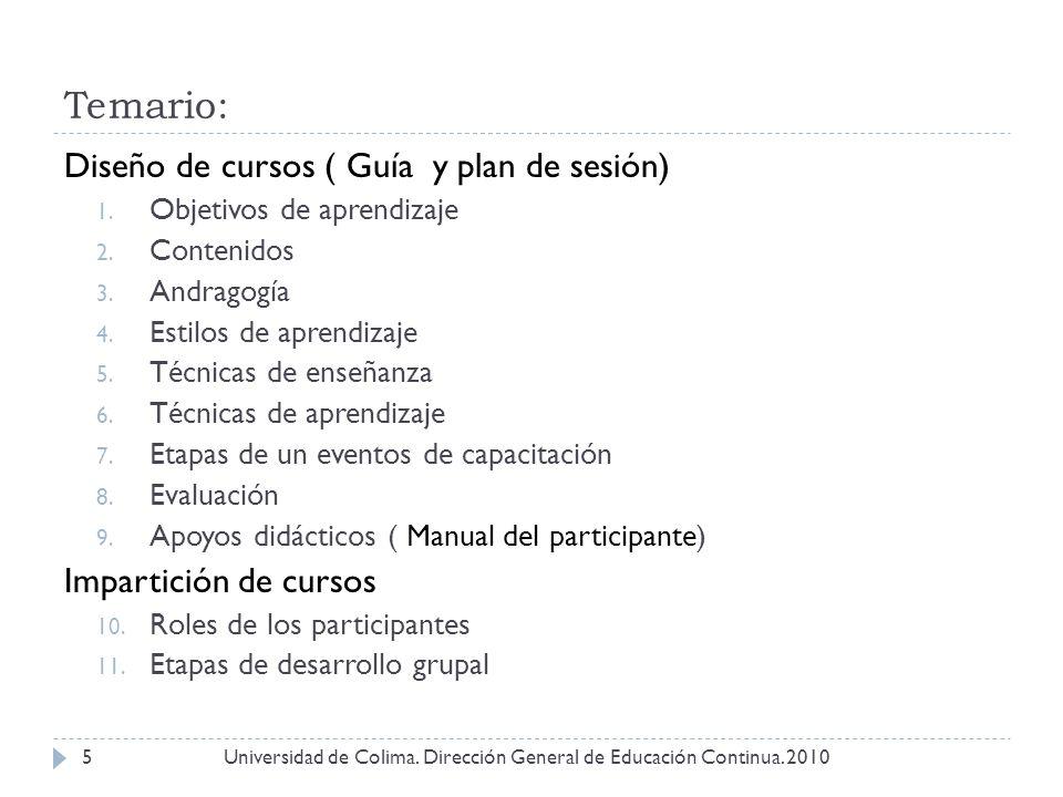 Temario: Universidad de Colima. Dirección General de Educación Continua. 20105 Diseño de cursos ( Guía y plan de sesión) 1. Objetivos de aprendizaje 2