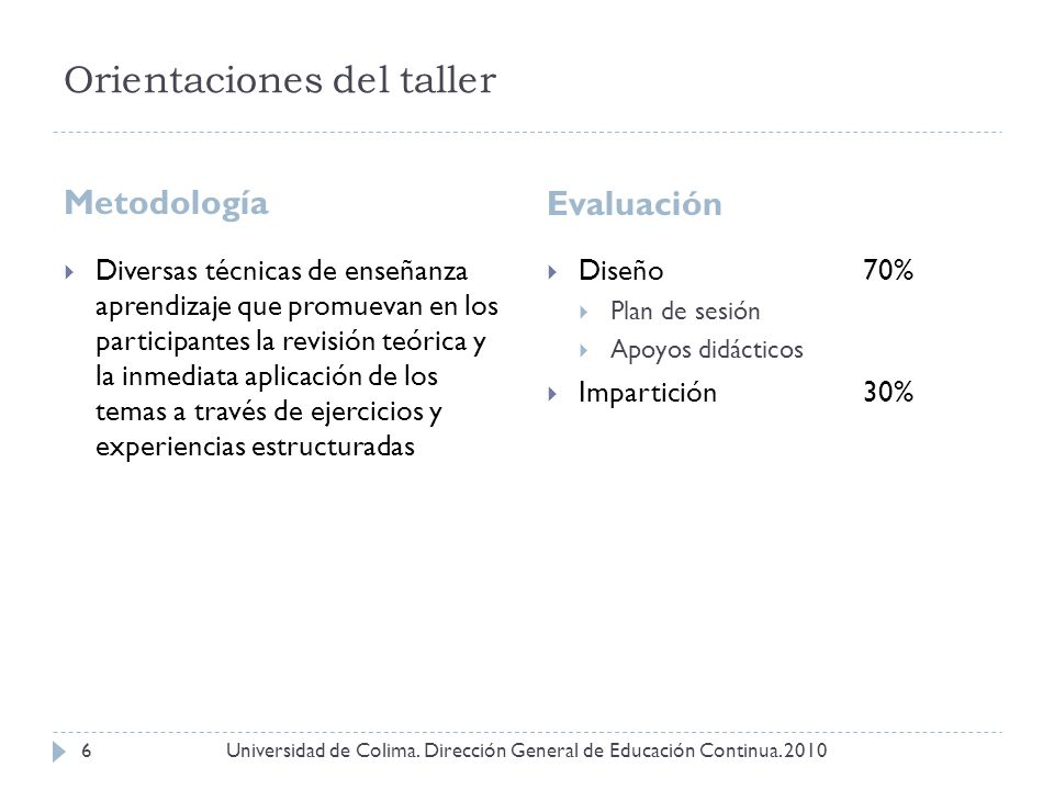 Orientaciones del taller Metodología Evaluación Universidad de Colima. Dirección General de Educación Continua. 20106 Diversas técnicas de enseñanza a