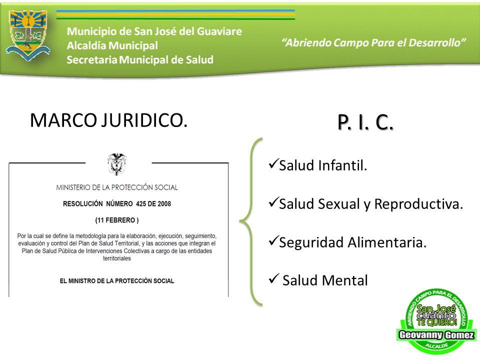 MARCO JURIDICO. P. I. C. Salud Infantil. Salud Sexual y Reproductiva. Seguridad Alimentaria. Salud Mental