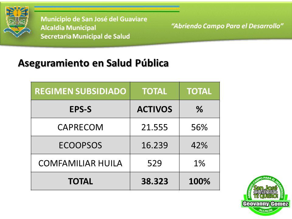 Aseguramiento en Salud Pública REGIMEN SUBSIDIADOTOTAL EPS-SACTIVOS% CAPRECOM21.55556% ECOOPSOS16.23942% COMFAMILIAR HUILA5291% TOTAL38.323100%