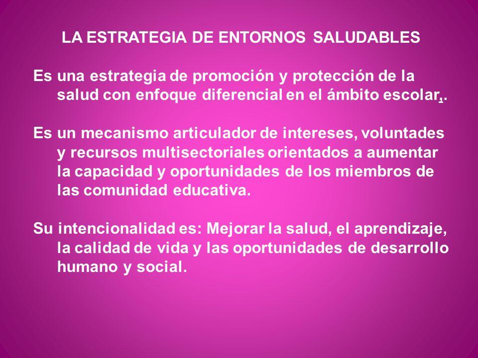 LA ESTRATEGIA DE ENTORNOS SALUDABLES Es una estrategia de promoción y protección de la salud con enfoque diferencial en el ámbito escolar,. Es un meca