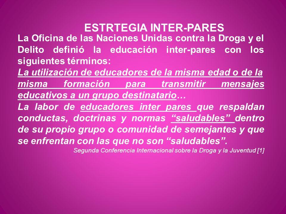 ESTRTEGIA INTER-PARES La Oficina de las Naciones Unidas contra la Droga y el Delito definió la educación inter-pares con los siguientes términos: La u