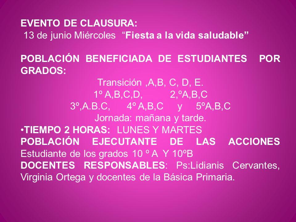EVENTO DE CLAUSURA: 13 de junio Miércoles Fiesta a la vida saludable POBLACIÓN BENEFICIADA DE ESTUDIANTES POR GRADOS: Transición,A,B, C, D, E. 1º A,B,