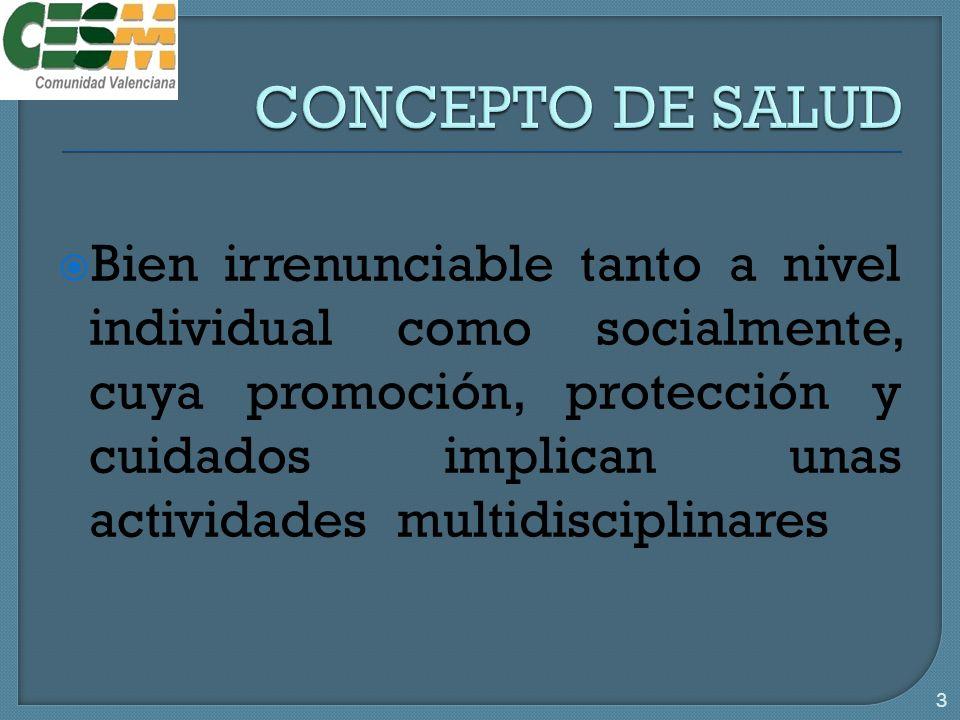 Bien irrenunciable tanto a nivel individual como socialmente, cuya promoción, protección y cuidados implican unas actividades multidisciplinares 3