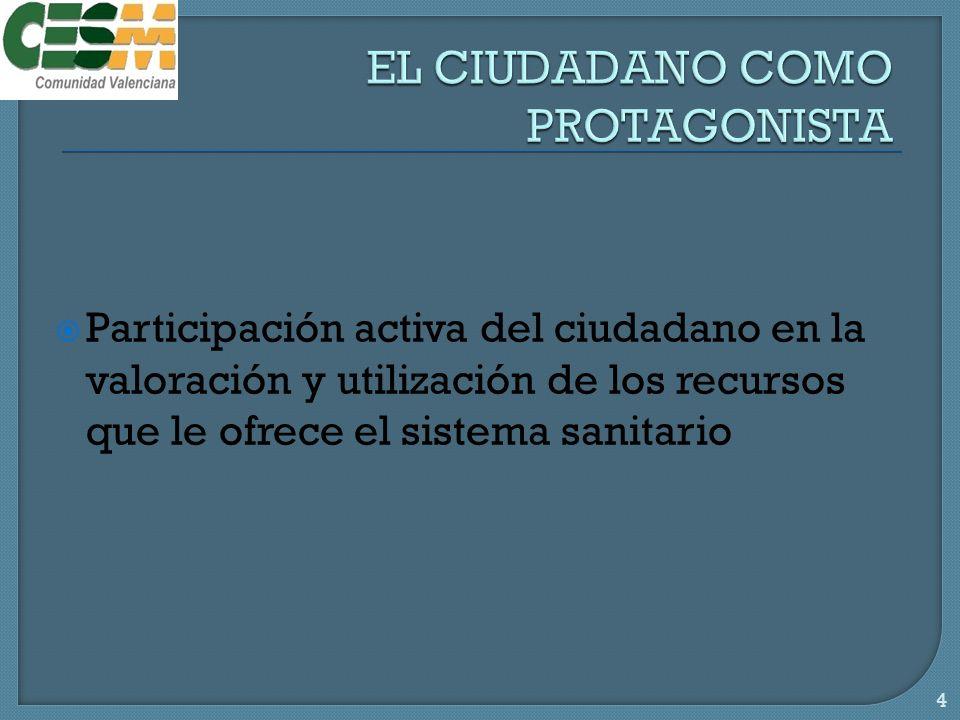 Participación activa del ciudadano en la valoración y utilización de los recursos que le ofrece el sistema sanitario 4