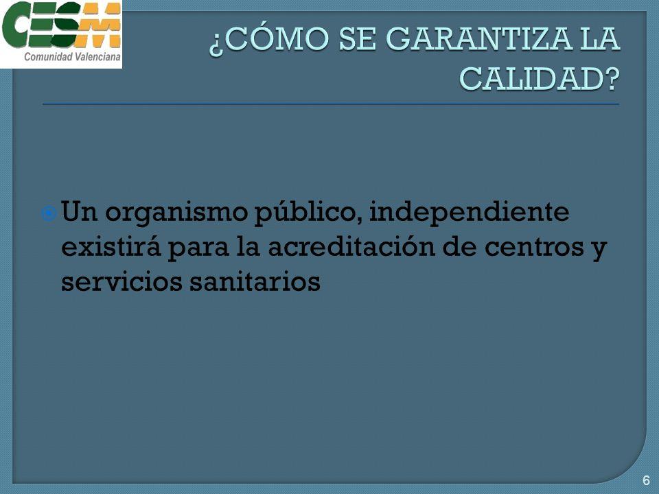 Un organismo público, independiente existirá para la acreditación de centros y servicios sanitarios 6