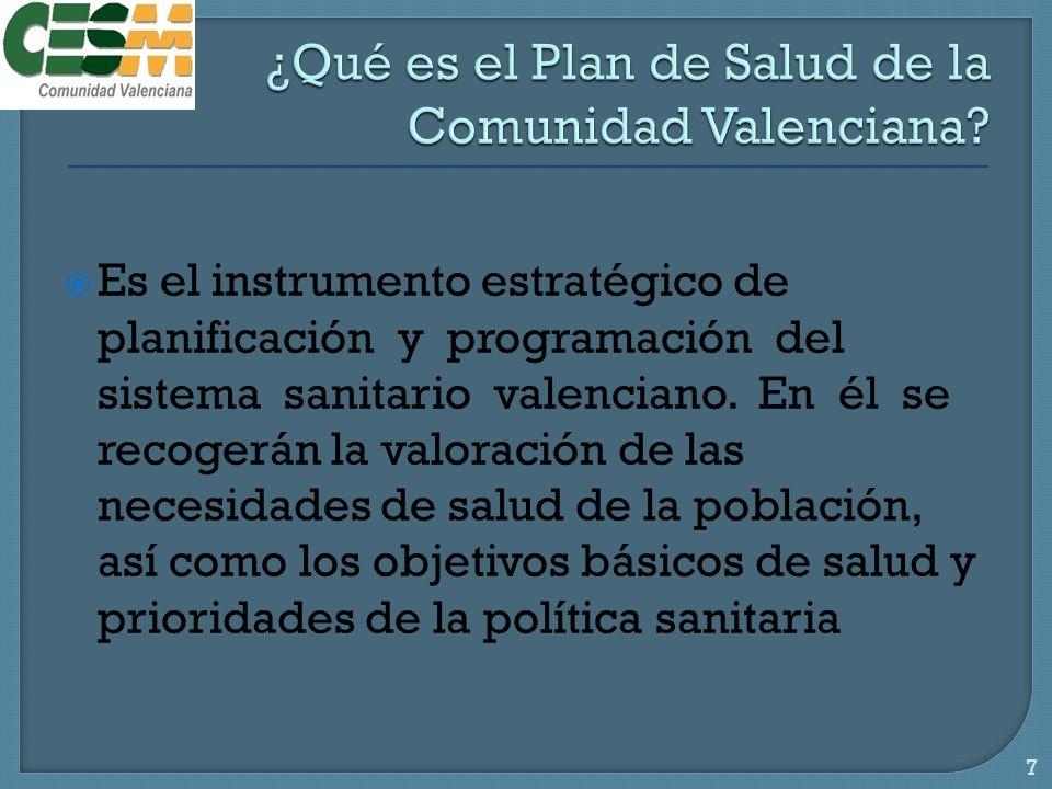 Es el instrumento estratégico de planificación y programación del sistema sanitario valenciano.