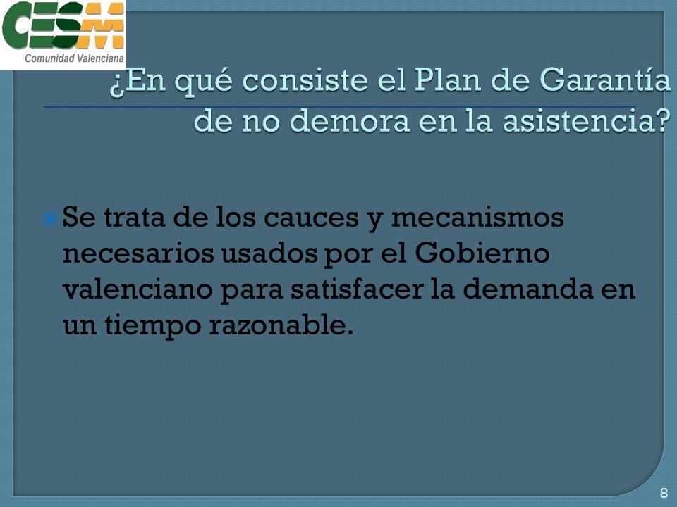 Se trata de los cauces y mecanismos necesarios usados por el Gobierno valenciano para satisfacer la demanda en un tiempo razonable.