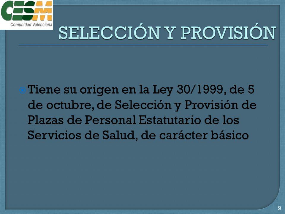 Tiene su origen en la Ley 30/1999, de 5 de octubre, de Selección y Provisión de Plazas de Personal Estatutario de los Servicios de Salud, de carácter básico 9