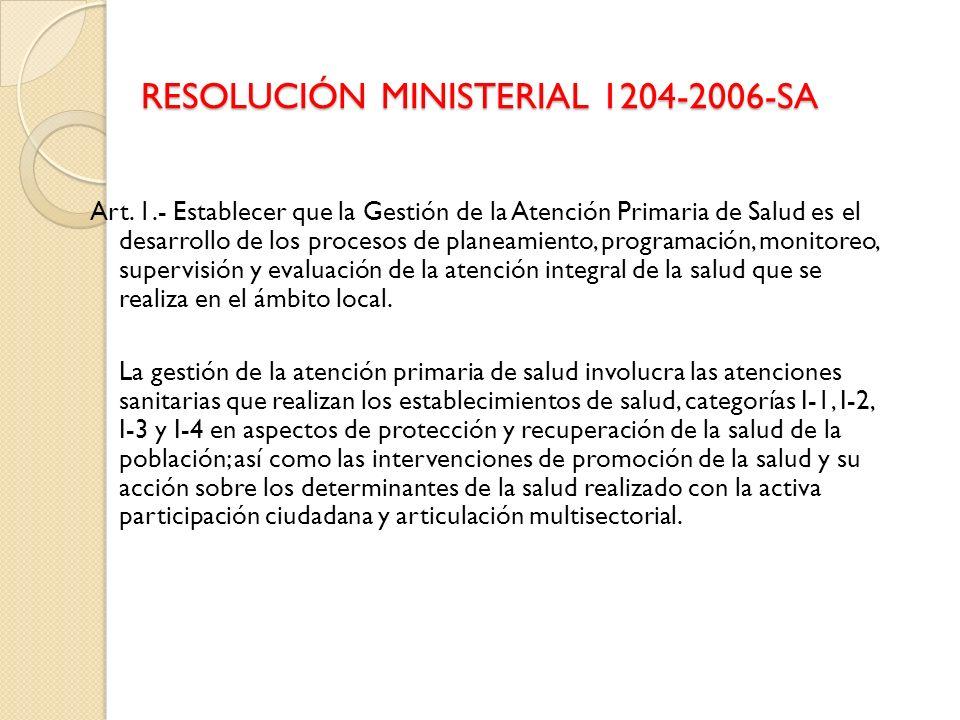 RESOLUCIÓN MINISTERIAL 1204-2006-SA Art. 1.- Establecer que la Gestión de la Atención Primaria de Salud es el desarrollo de los procesos de planeamien