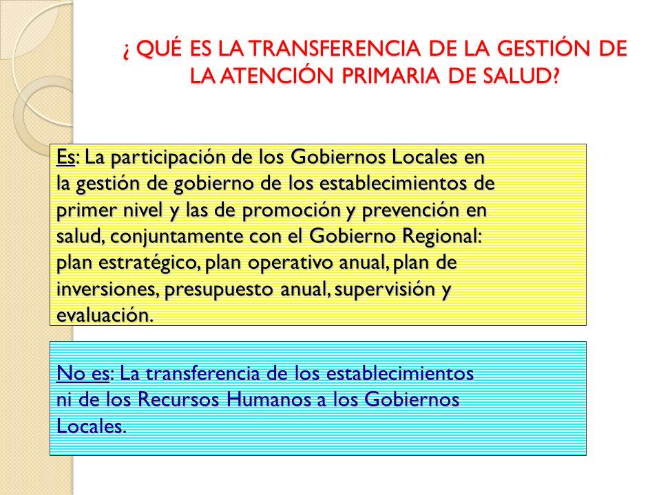 ¿ QUÉ ES LA TRANSFERENCIA DE LA GESTIÓN DE LA ATENCIÓN PRIMARIA DE SALUD? Es: La participación de los Gobiernos Locales en la gestión de gobierno de l