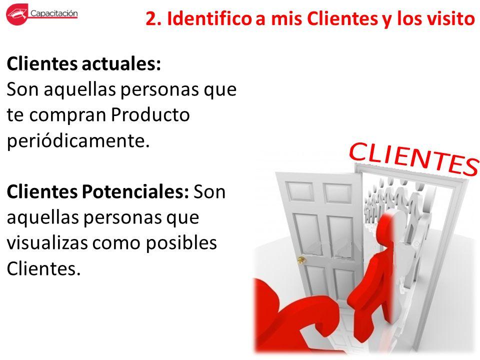 Clientes actuales: Son aquellas personas que te compran Producto periódicamente. Clientes Potenciales: Son aquellas personas que visualizas como posib